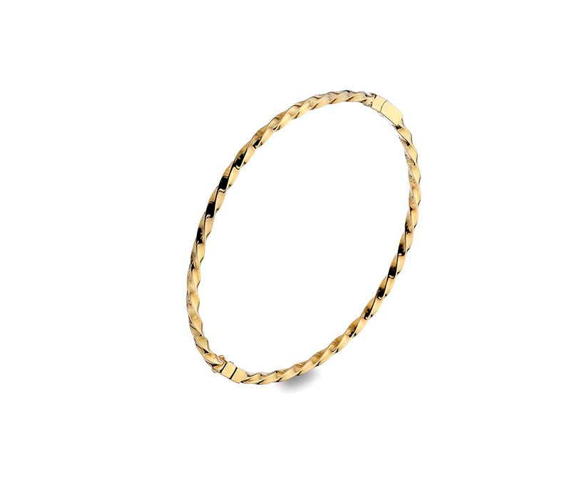 9ct Yellow Gold Solid Twisted Bangle