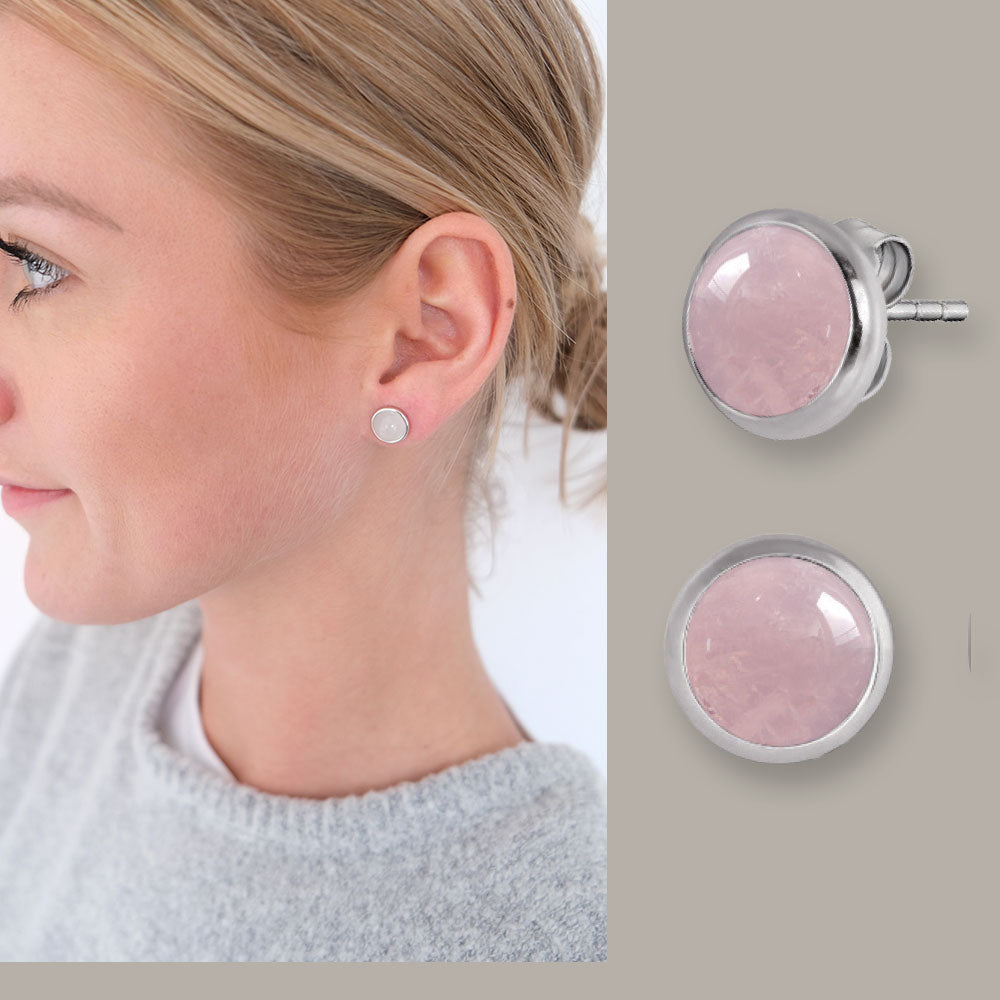 Rose Gold Plated and Rose Quartz Stud Earrings