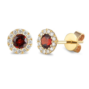 JANUARY - 9ct Yellow Gold Garnet and Diamond Cluster Stud Earrings