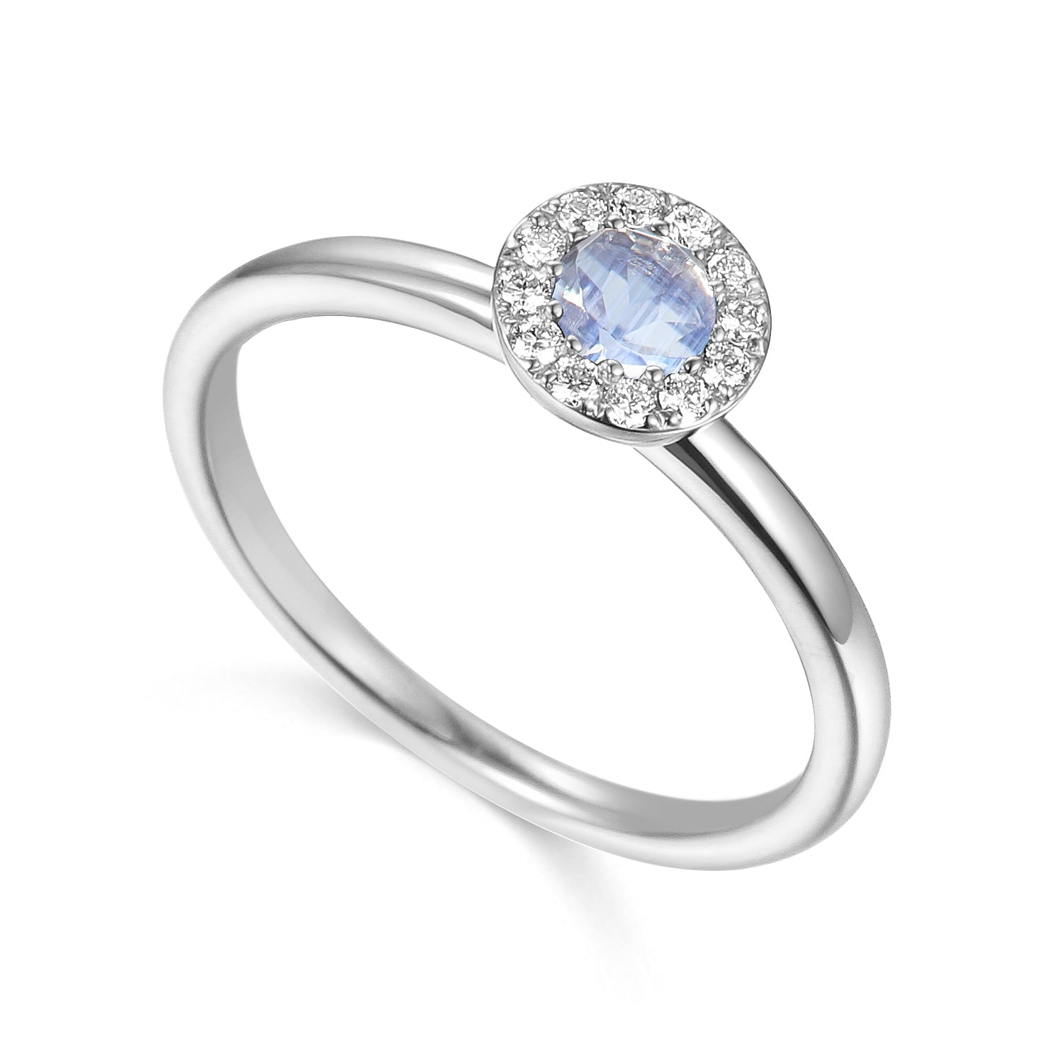 JUNE - 9ct White Gold Moonstone and Diamond Cluster Ring