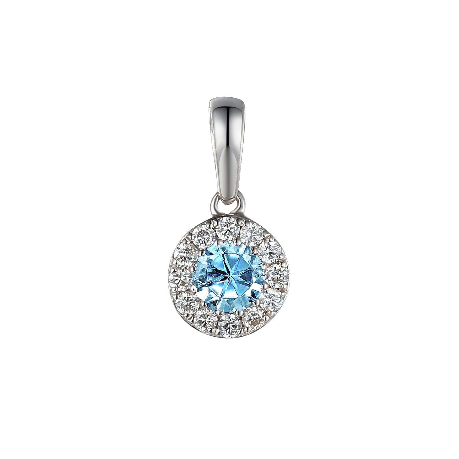 MARCH - 9ct White Gold Aquamarine and Diamond Cluster Pendant Only