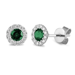 MAY - 9ct Yellow and White Gold Emerald and Diamond Cluster Stud Earrings