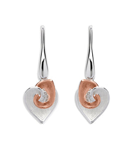 Sterling Silver and Rose Gold Plate Heart Design Drop Earrings