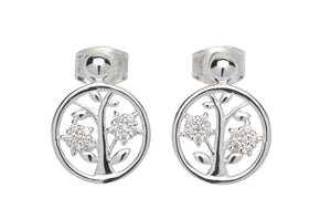 Sterling Silver CZ Tree of Life Stud Earrings
