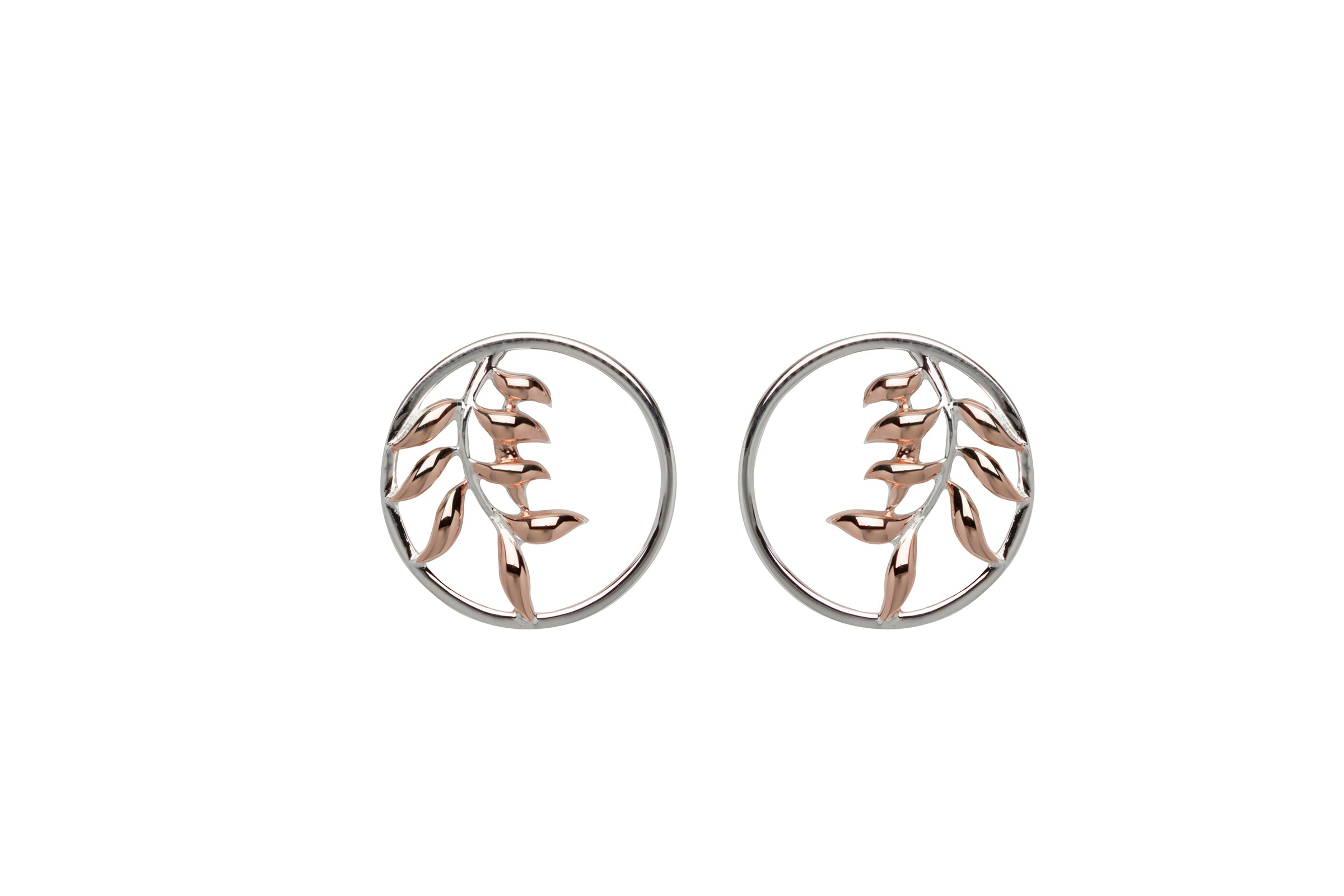 Sterling silver and Rose Gold Plate Stud Earrings