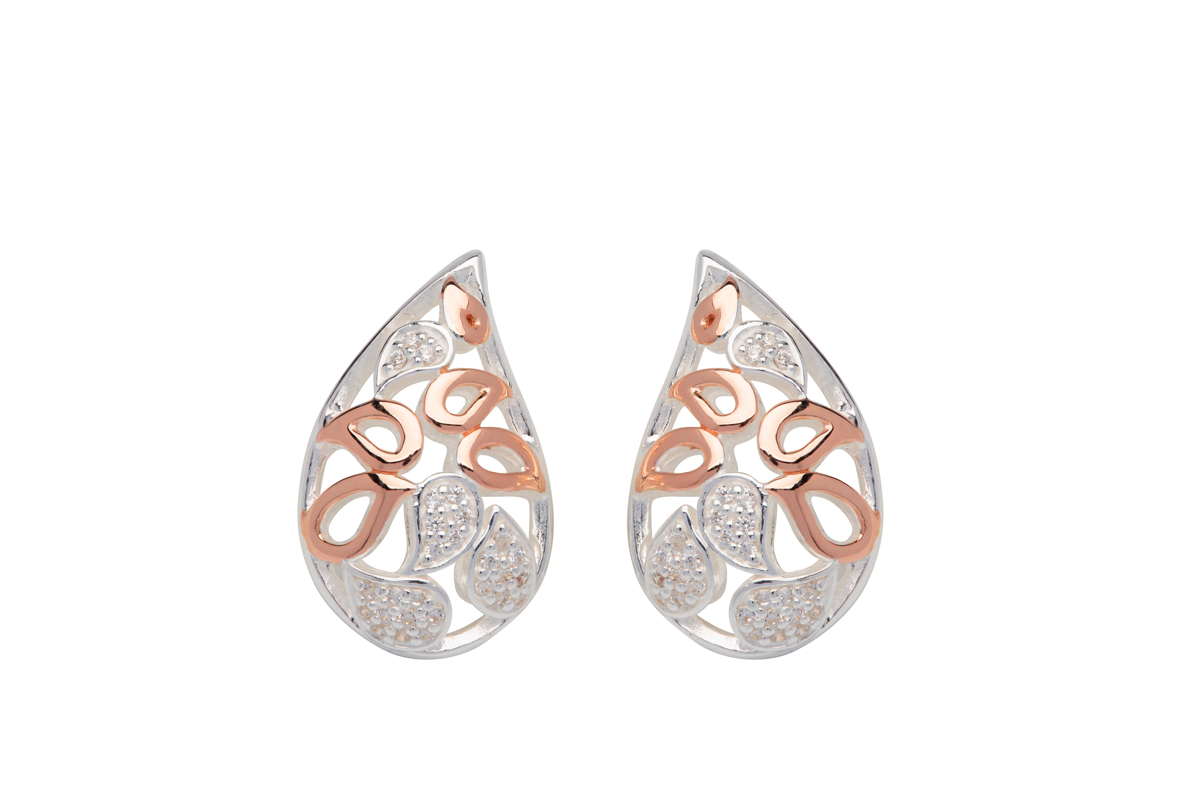 Sterling Silver and Rose Plated CZ Pearshape Earrings
