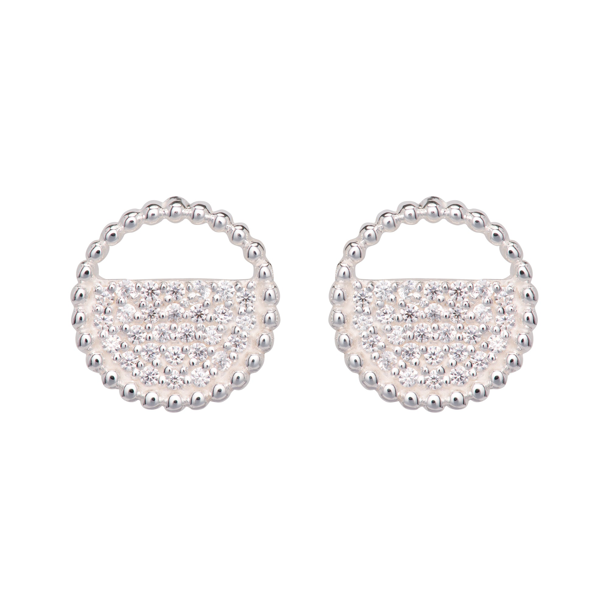 Sterling Silver Round Beaded CZ Stud Earrings