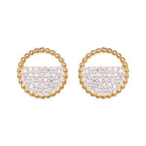 Yellow Gold Plated CZ Stud Earrings