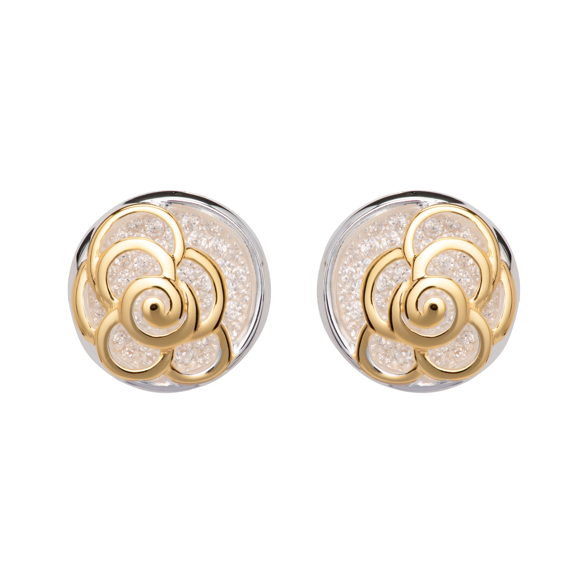 Sterling Silver and Yellow Gold Plate Flower Stud Earrings