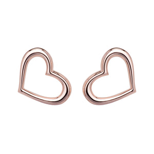 Rose Gold Plated Open Heart Studs Earrings