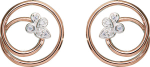 Sterling Silver and Rose Gold Plate CZ Circle Stud Earrings
