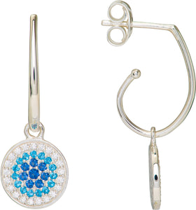 Sterling Silver Blue and White CZ Hoop Earrings