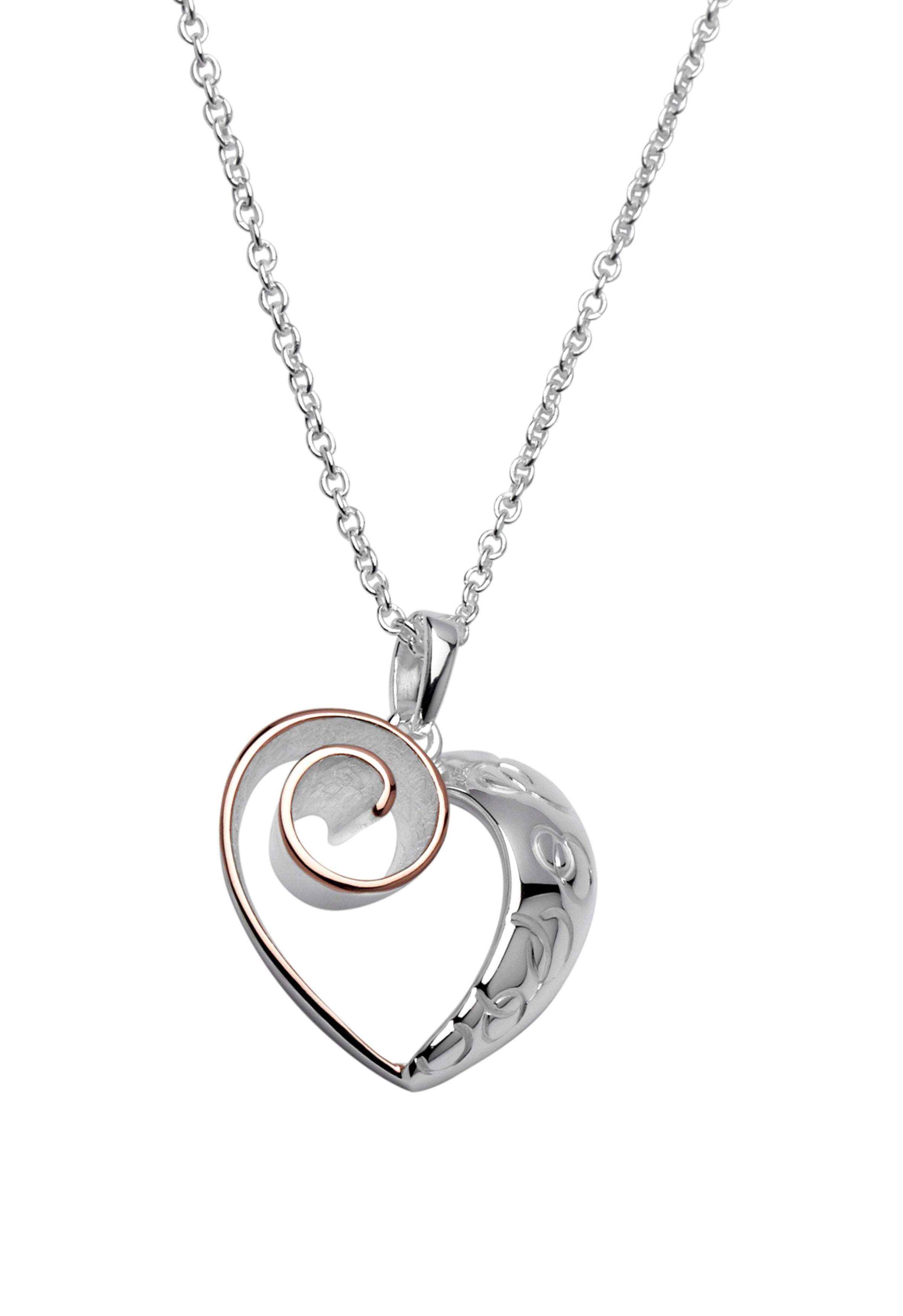 Sterling Silver and Rose Gold Plate Heart Pendant and Chain