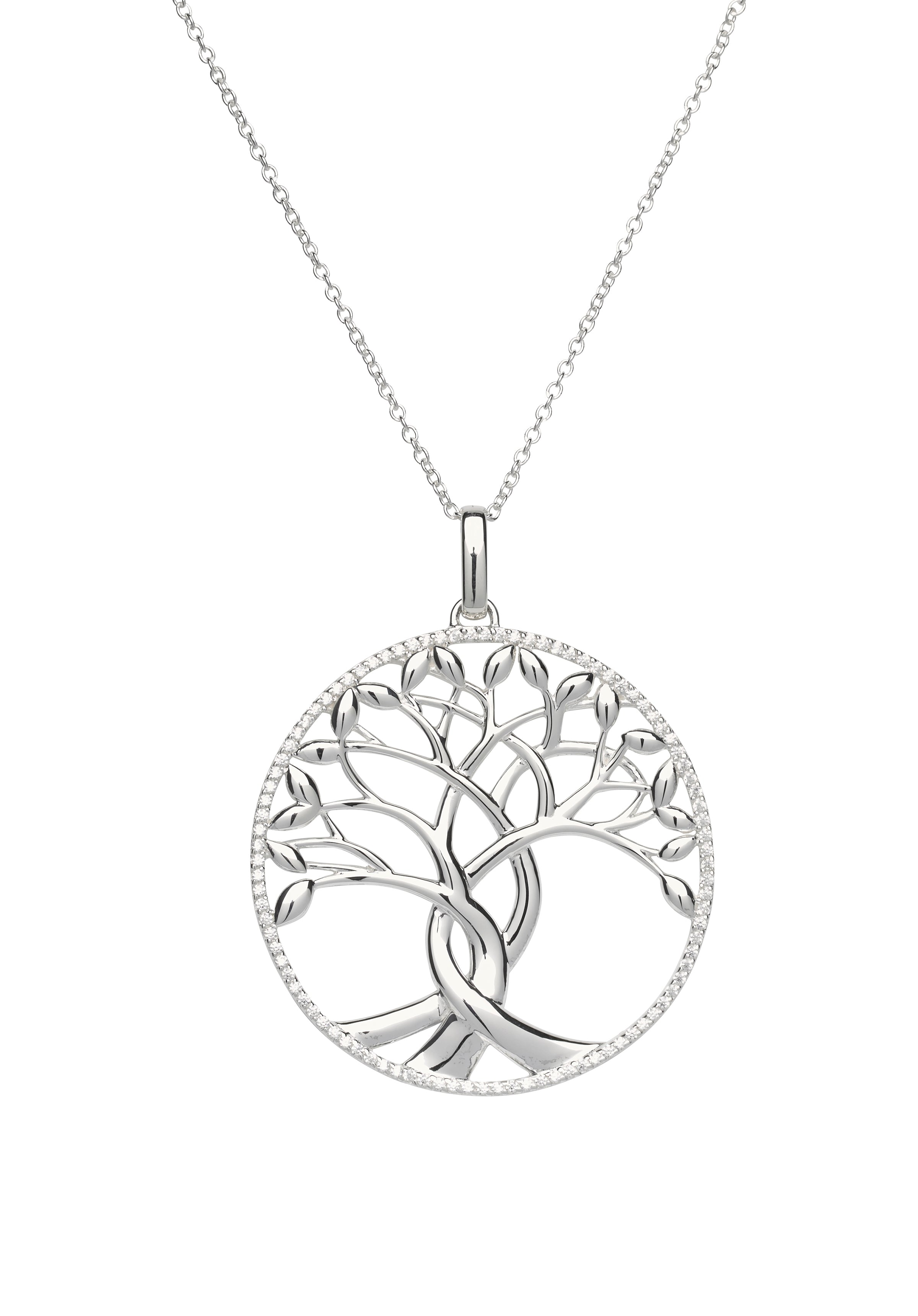 Sterling Silver Large Tree Of Life CZ Pendant and Chain