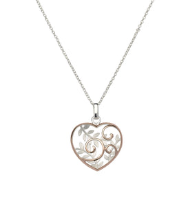 Sterling Silver and Rose Gold Plate Swirl and Leaf Heart Pendant and Chain
