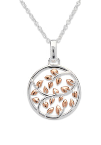 Sterling Silver and Rose Gold Plated Leaf Circle Pendant and Chain