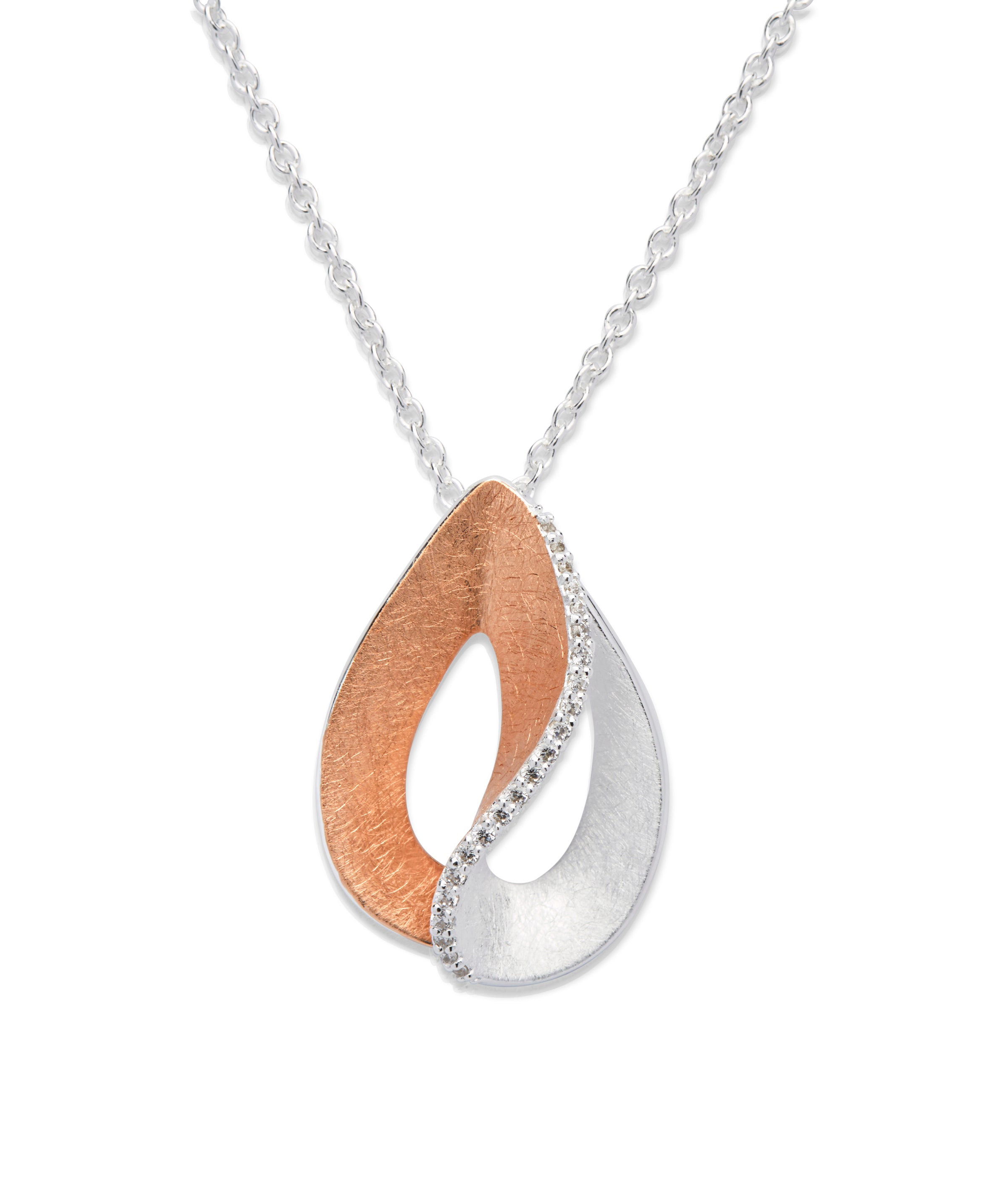 Sterling Silver and rose Gold Plated Pearshape CZ Pendant and Chain