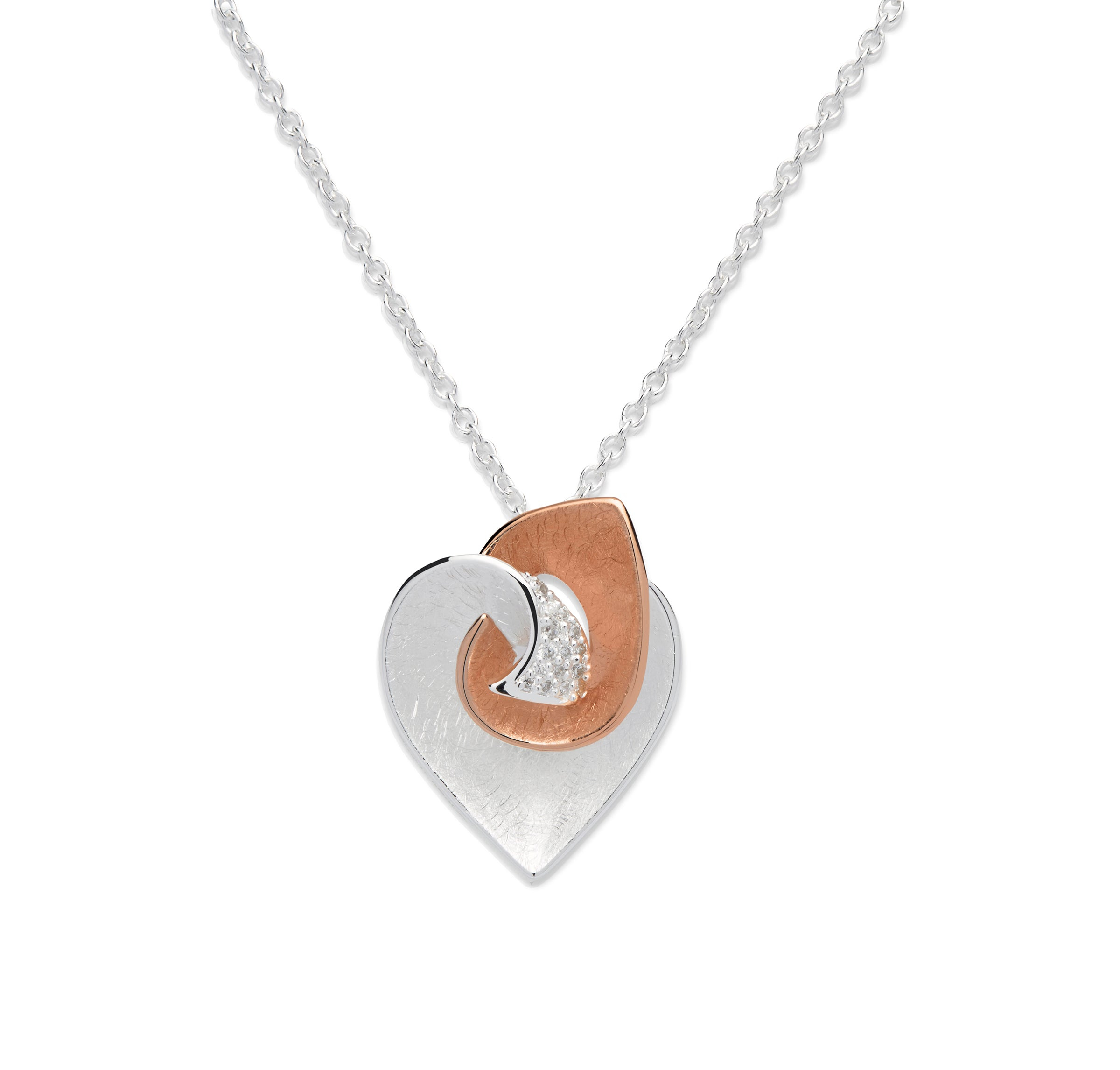 Sterling Silver and Rose Gold Plate CZ Heart Design Pendant and Chain