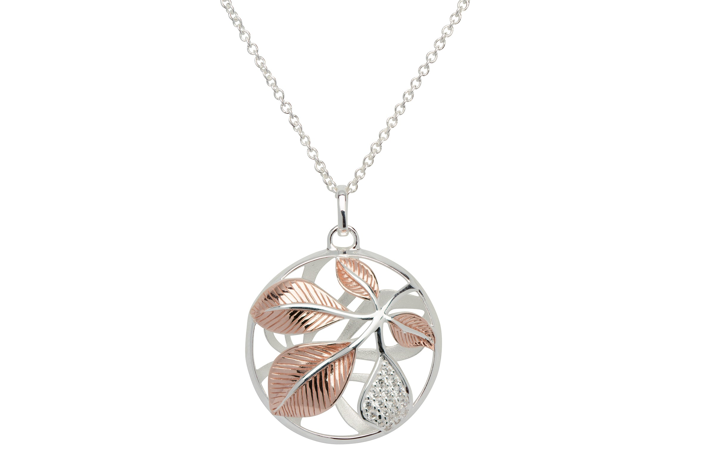 Sterling Silver and Rose Gold Plate Leaf Round Pendant and Chain