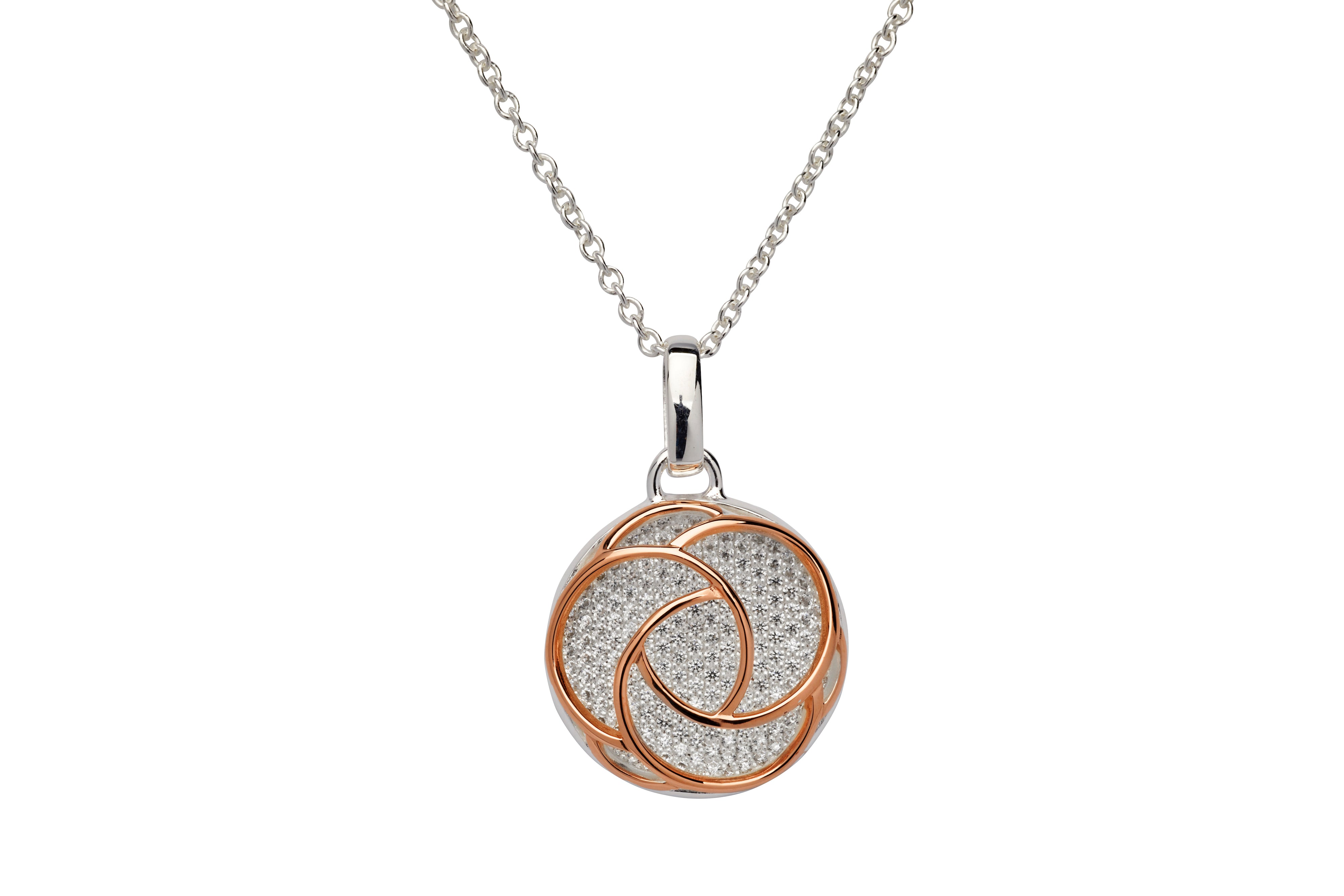 Sterling Silver and Rose Gold Plate CZ Round Pendant and Chain