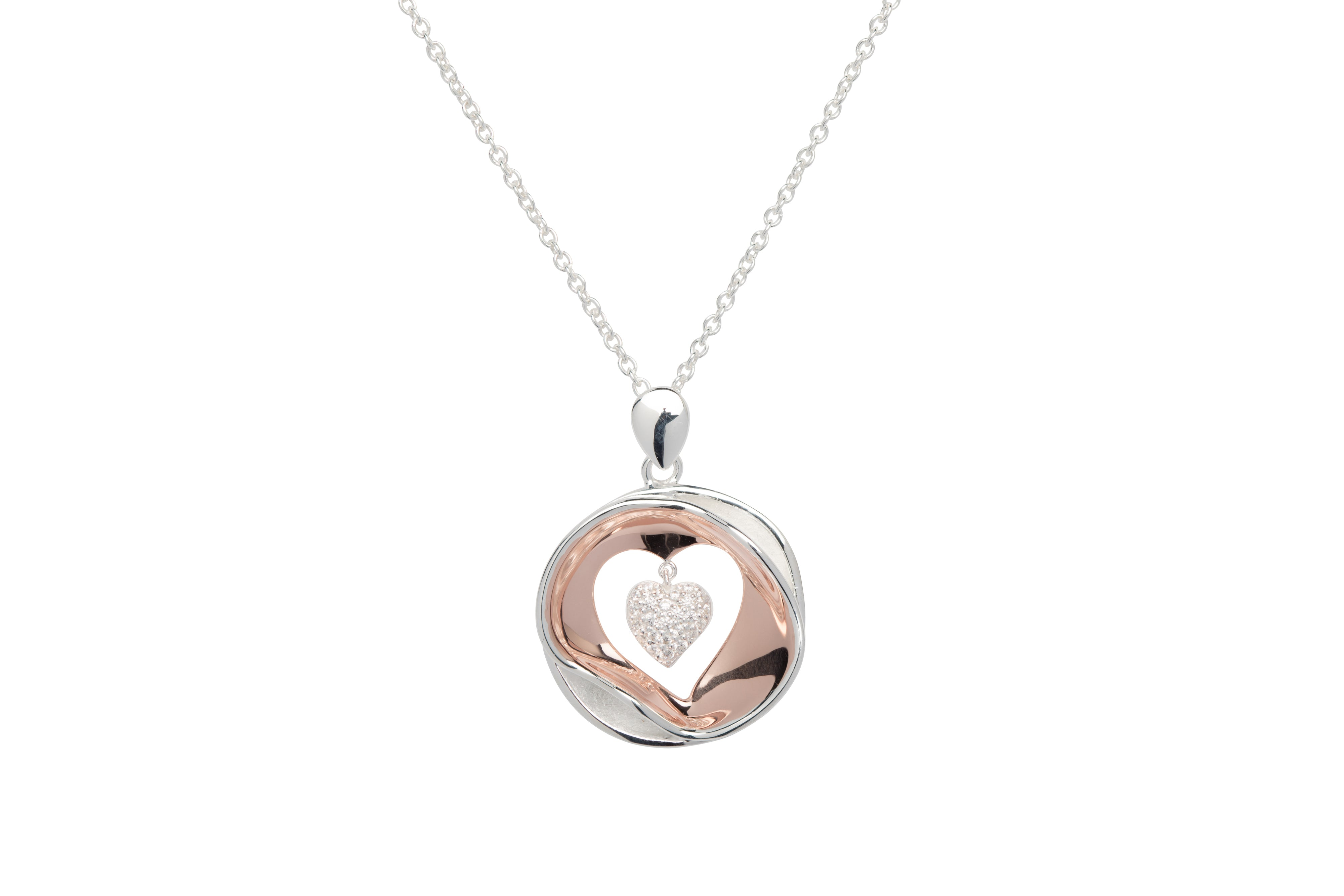 Sterling Silver and Rose Gold Plate CZ Heart Drop Pendant and Chain