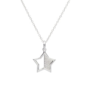 Sterling Silver CZ Open Star Pendant and Chain