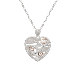 Sterling Silver and Rose Gold Plate Heart Design Pendant and Chain