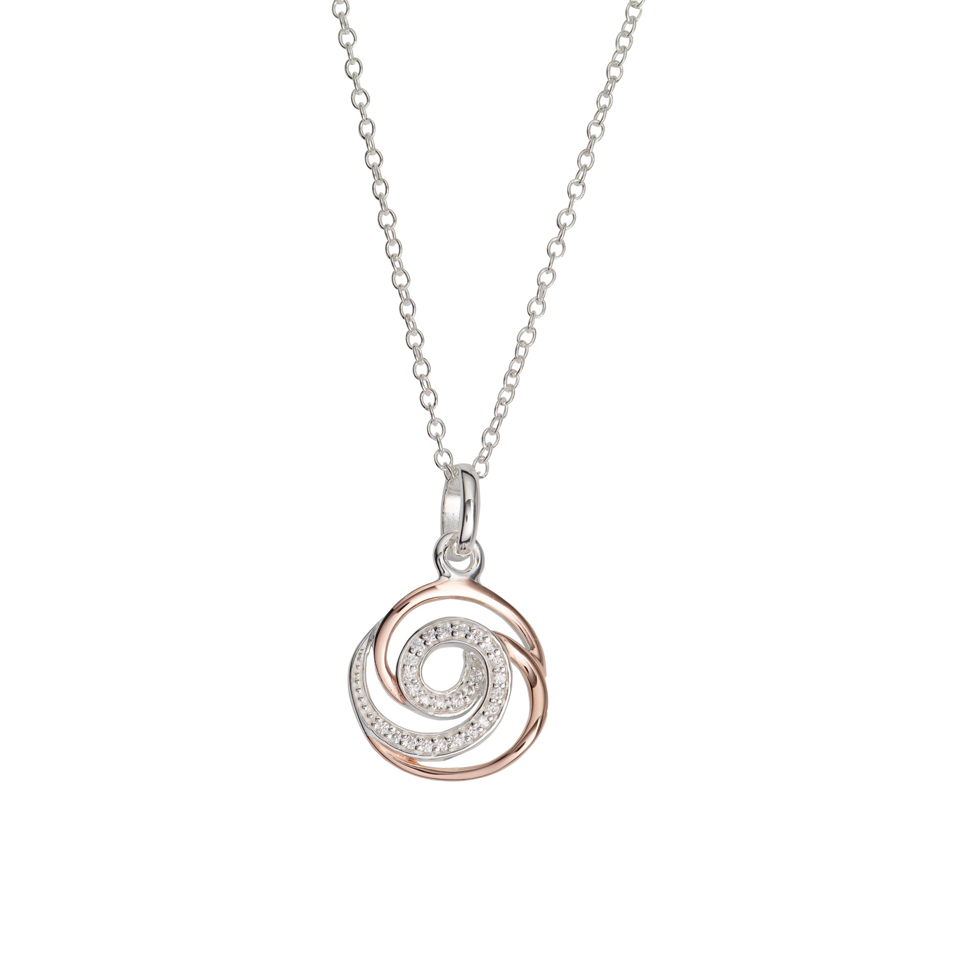 Sterling Silver and Rose Gold Plated Swirl CZ Pendant and Chain