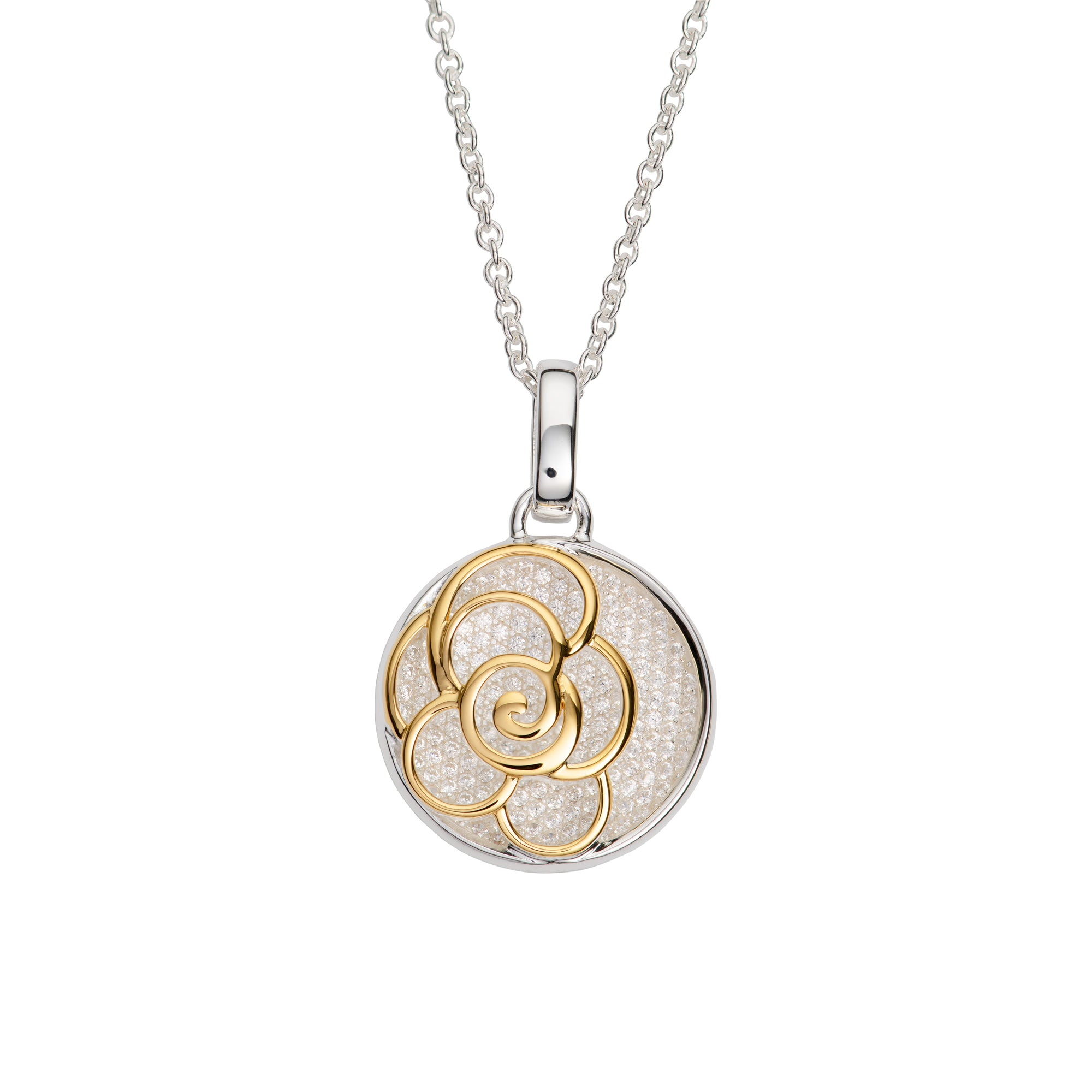 Sterling Silver and Yellow Gold Plate Flower Pendant and Chain