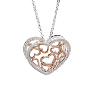 Sterling Silver and Rose Gold Plate CZ Double Heart Pendant and Chain