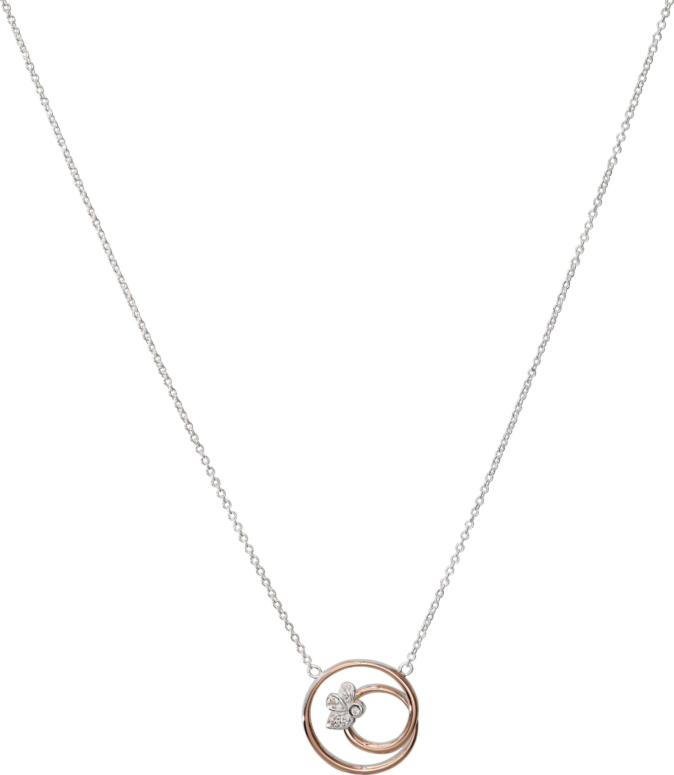 Sterling Silver and Rose Gold Plate CZ Swirl Circle Necklace