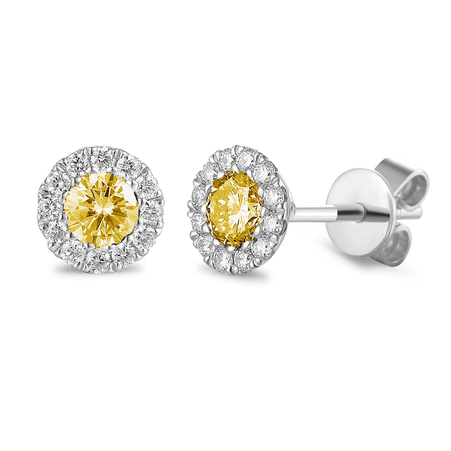 NOVEMBER - 9ct Yellow Gold Citrine and Diamond Cluster Stud Earrings