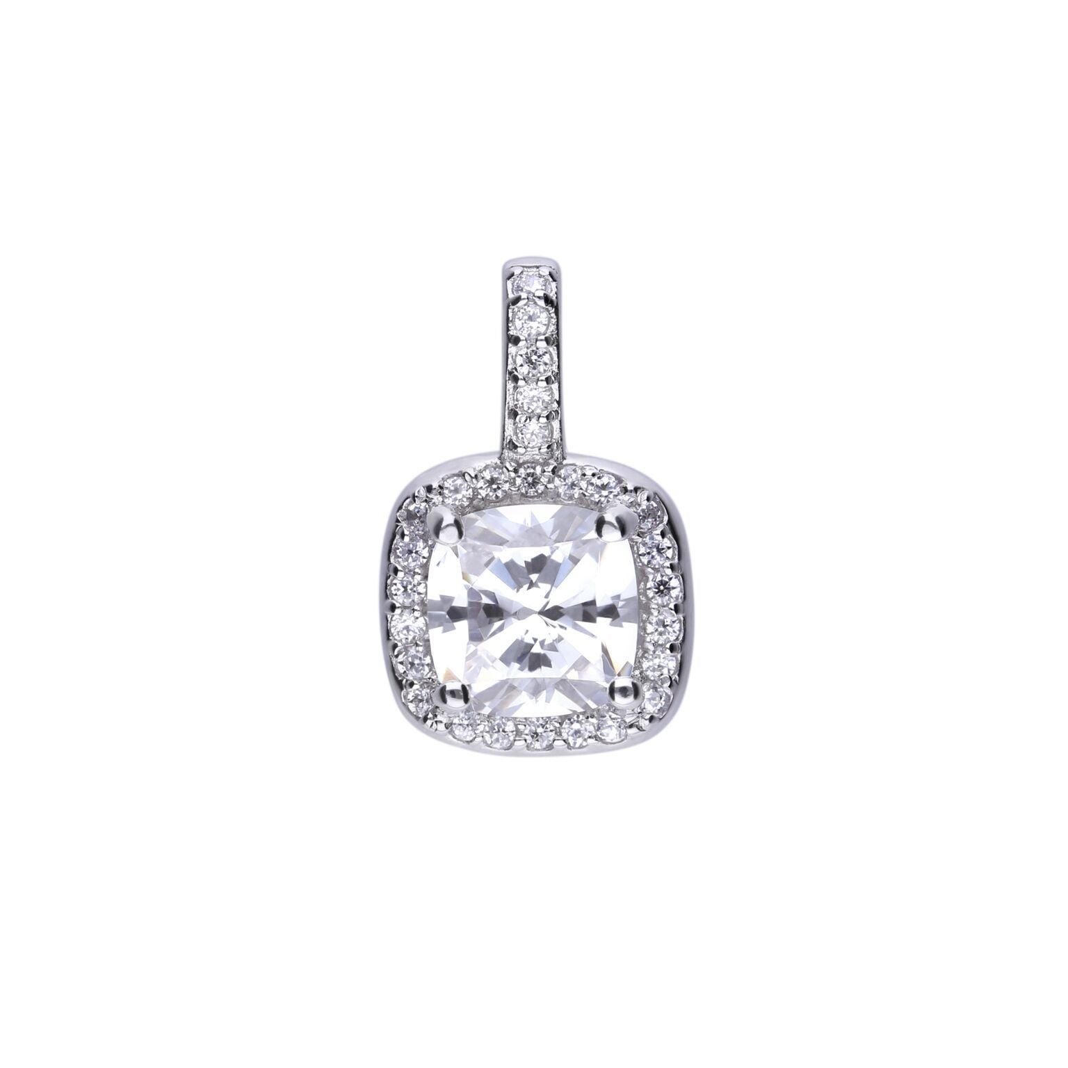 Diamonfire Sterling Silver CZ Cluster Pendant and Chain
