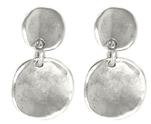 UnoDe50 Silver Circle Solid Drop Earrings