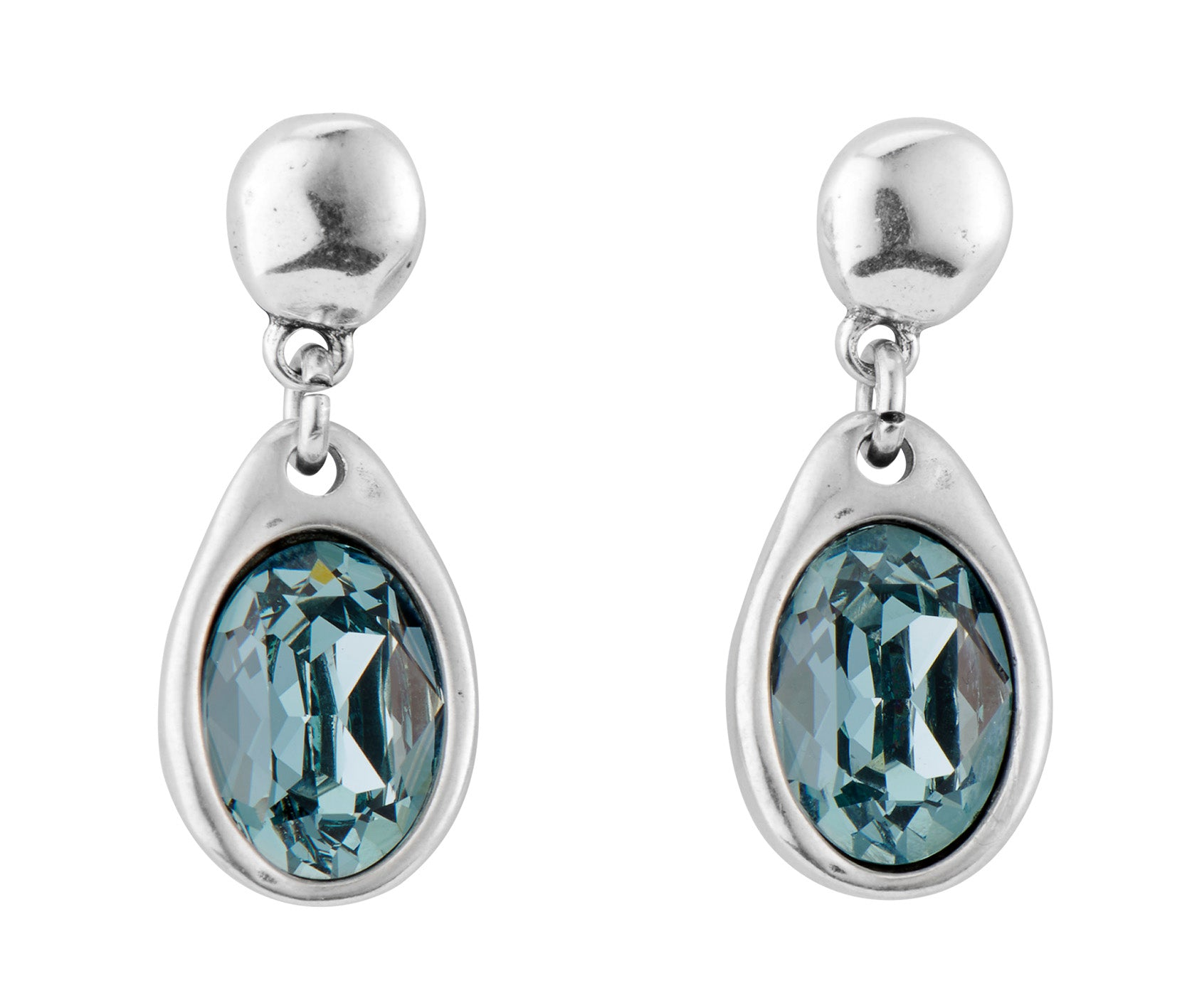 UnoDe50 Silver and Blue Stone Set Drop Earrings
