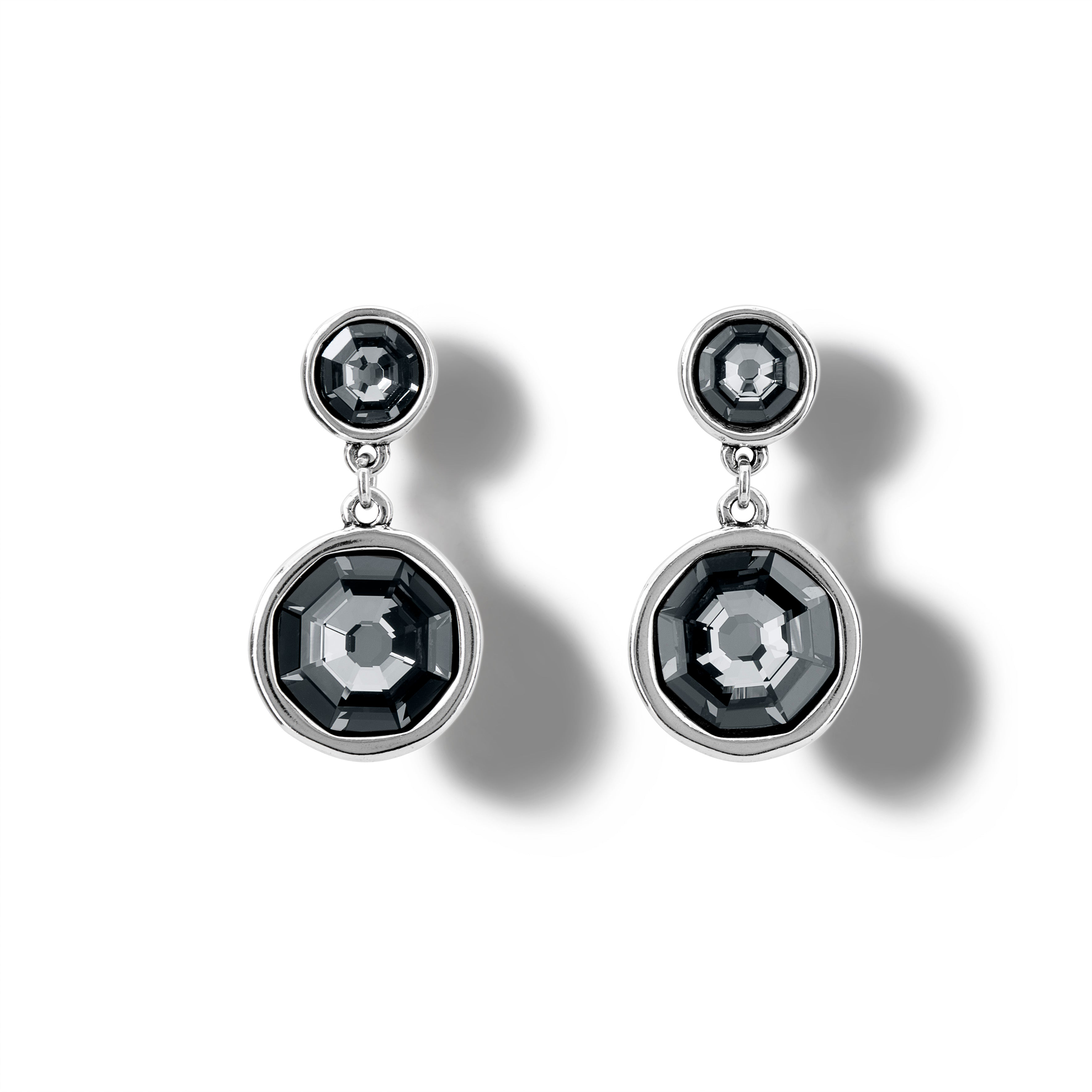UnoDe50 Silver Double Trouble Swarovski Drop Earrings