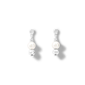 UnoDe50 Silver and Pearl Moody Drop Earrings