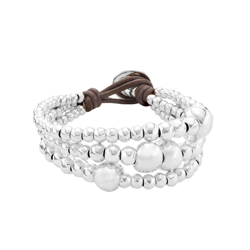 UnoDe50 Leather and Silver Ball Bracelet