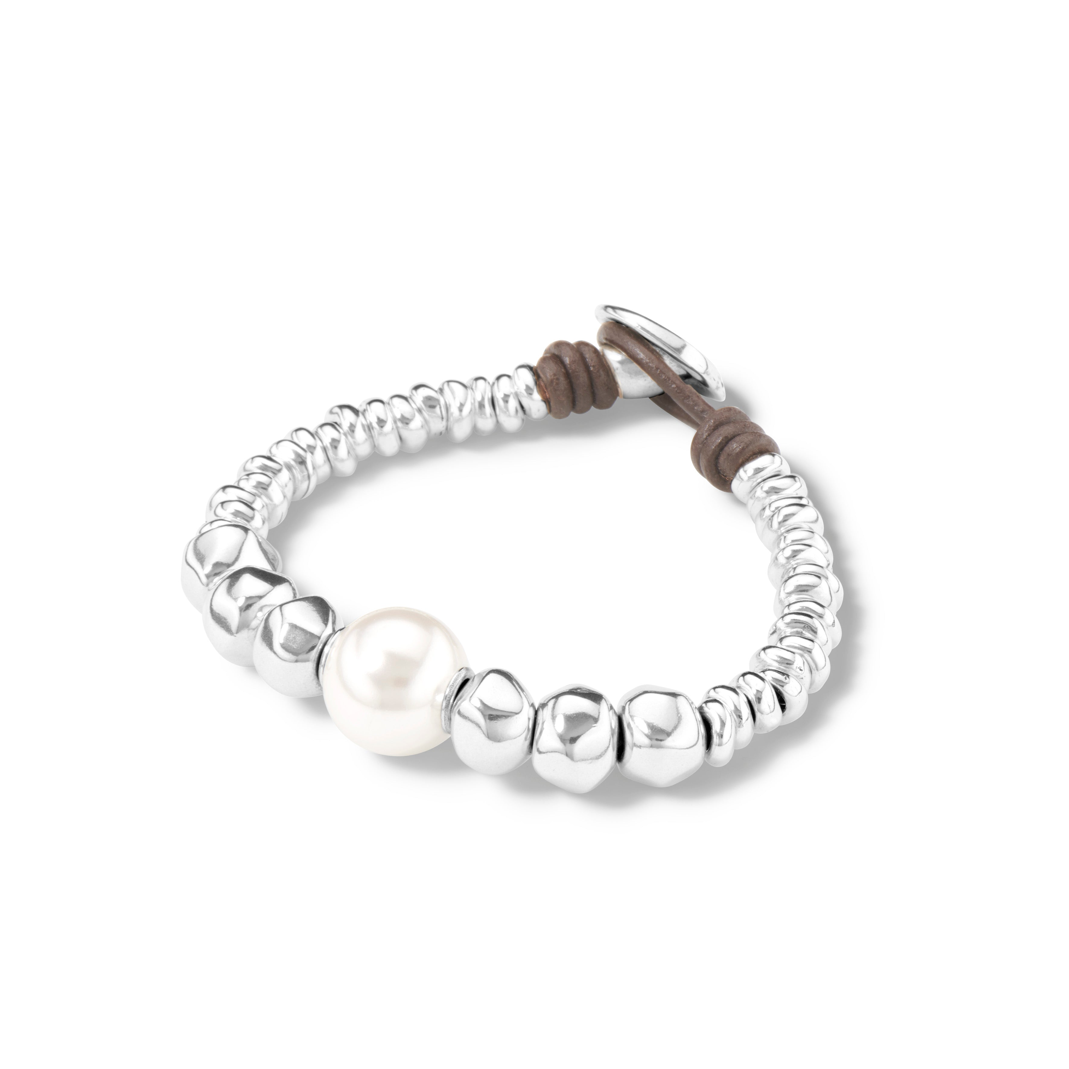 UnoDe50 Silver and Pearl Moody Bracelet