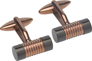 Rose Gold plated and Black Barrel Cufflinks