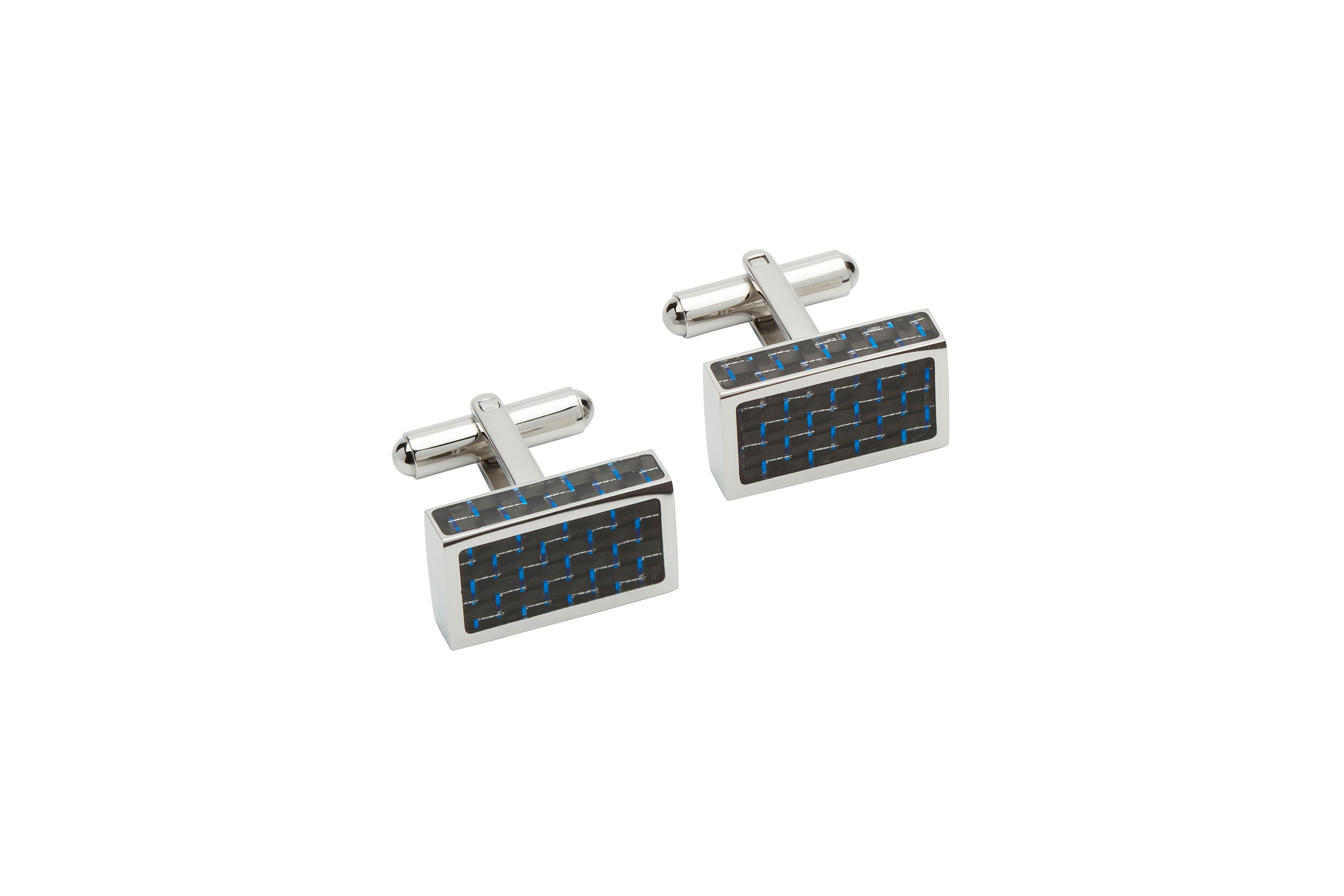 Blue Carbon Fibre Rectangular Stainless Steel Cufflinks