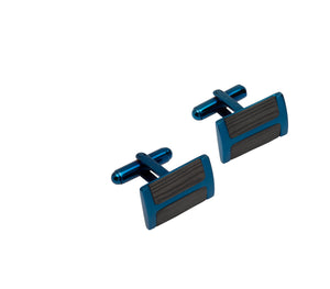 Black and Blue Rectangular Cufflinks