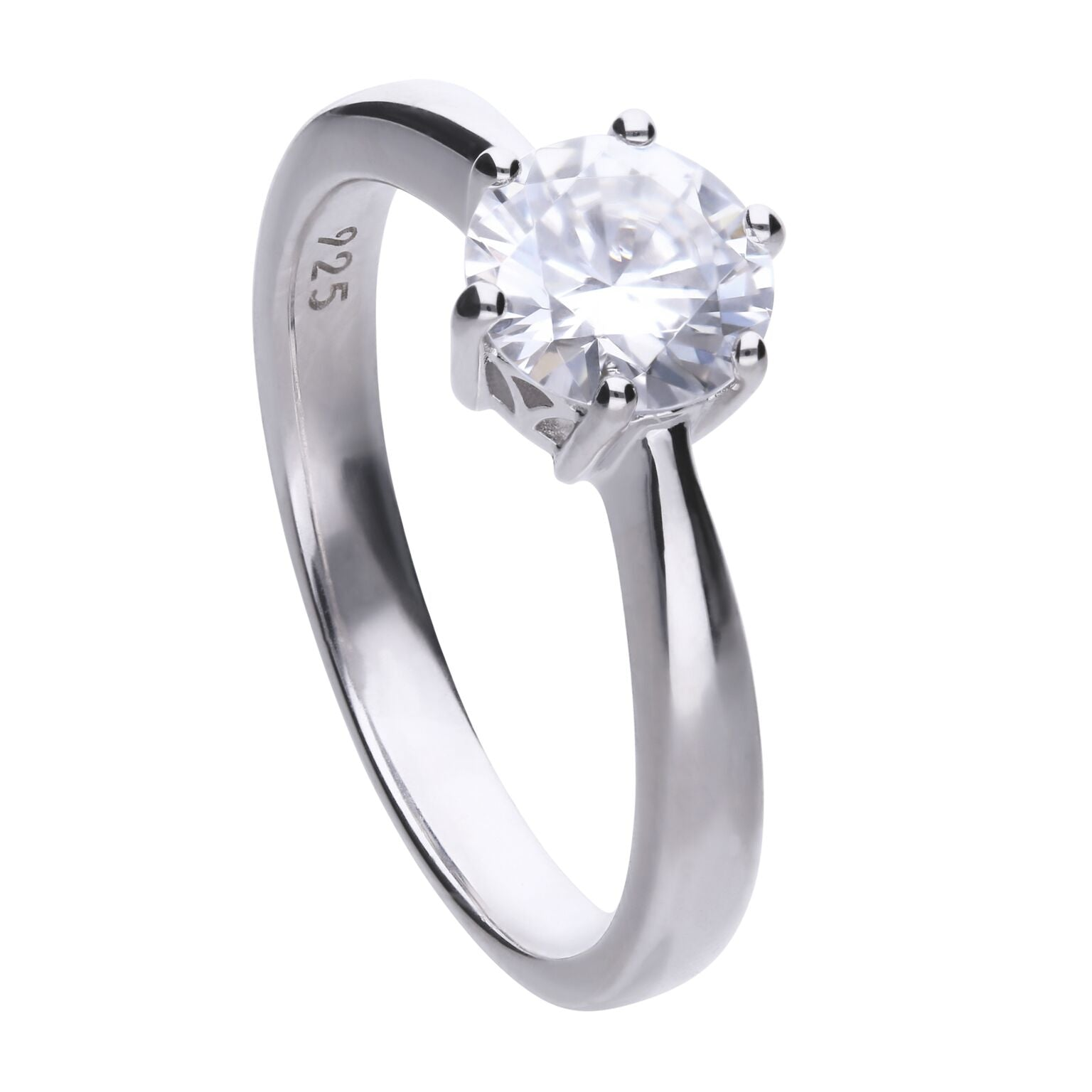 Diamonfire Sterling Silver 1.5ct CZ Single Stone Ring