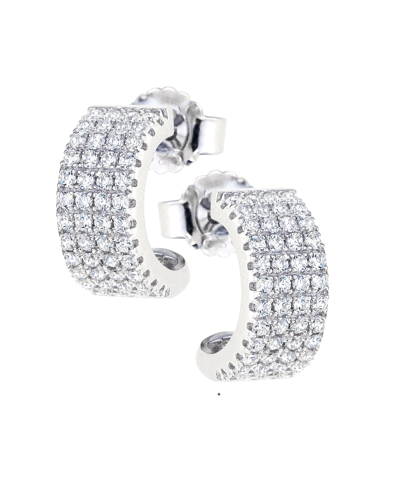 Sterling Silver Four Row CZ Half Hoops