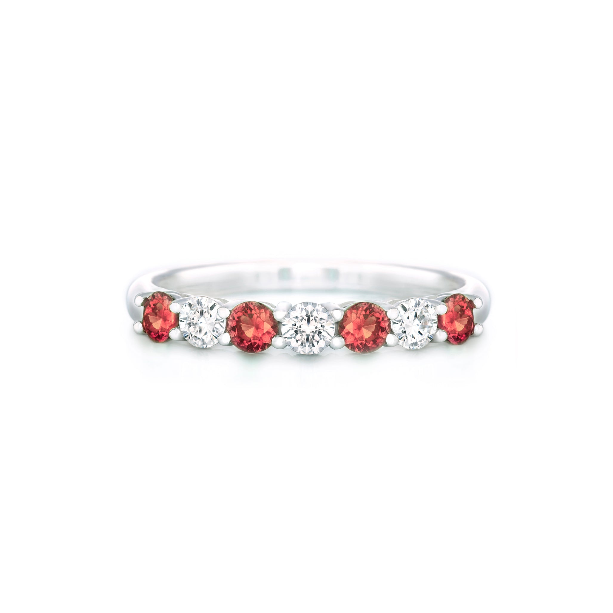 Sterling Silver Red and White CZ Eternity Ring
