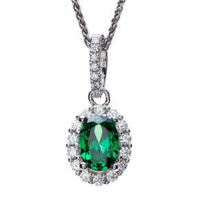 Sterling Silver Green and White CZ Cluster Pendant and Chain
