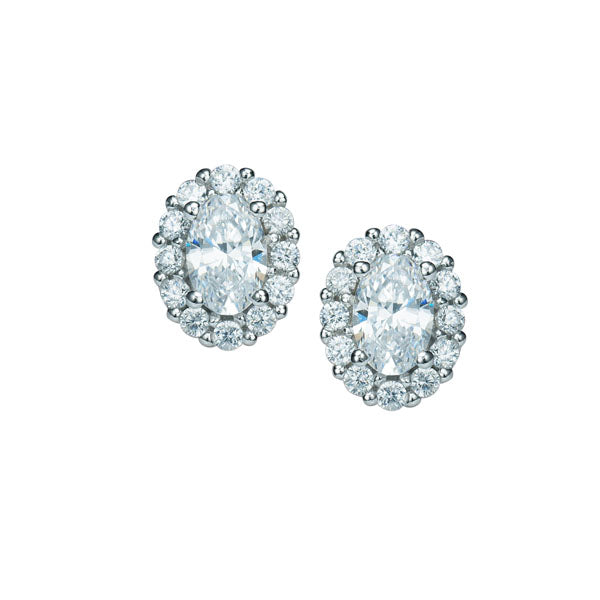 Sterling Silver Oval White CZ Cluster Earrings