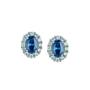 Sterling Silver Blue and White CZ Cluster Stud Earrings