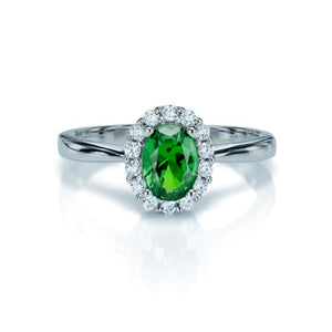 Sterling Silver Green and White CZ Cluster Ring