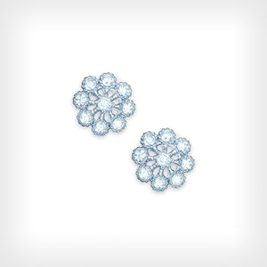 Sterling Silver White CZ Flower Design Stud Earrings